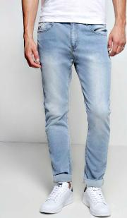 Boohoo , Washed Stretch Skinny Fit Jeans Blue