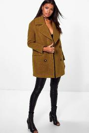 Boohoo , Oversized Collar Double Breasted Coat - Olive