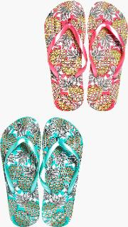 Boohoo , Pineapple Print Two Pack Flip Flop - Multi