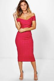 Boohoo , Bandage Off The Shoulder Crop And Midi Skirt - Berry