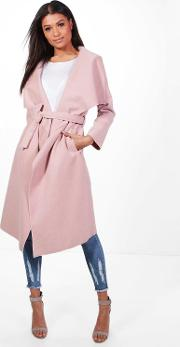 Boohoo , Belted Waterfall Coat - Blush