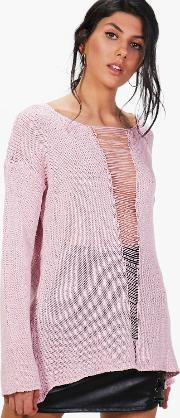 Boohoo , Distressed Open Front Jumper - Blush