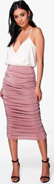 Boohoo , Highwaist Textured Rouched Midi Skirt - Rose