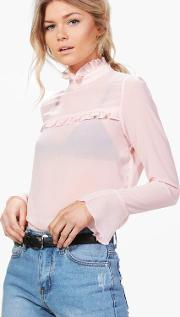 Boohoo , Keely Frill Detail High Neck Woven Blouse - Blush