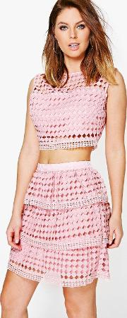 Boohoo , Lace Peplum Top And Skirt Co-ord - Blush