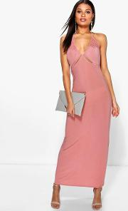 Boohoo , Ruched Halterneck Cut Out Maxi Dress Salmon