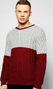 Boohoo , Cable Knit Crew Neck Jumper - Burgundy