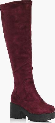 Boohoo , Chunky Cleated Knee High Boots - Burgundy