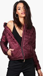 Boohoo , Quilted Hooded Coat - Wine