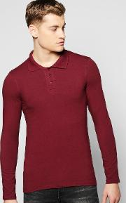 Boohoo , Sleeve Muscle Fit Polo In Jersey Wine