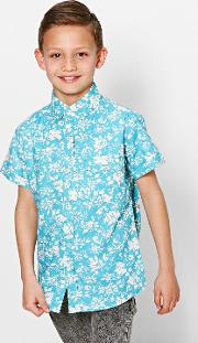 Boohoo , Floral All Over Print Shirt - Turquoise