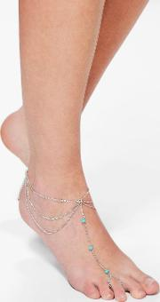 Boohoo , Turquoise Stone Chain Foot Anklet - Silver
