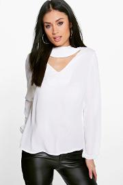 Boohoo , Cut Out Choker Neck Woven Blouse Ivory