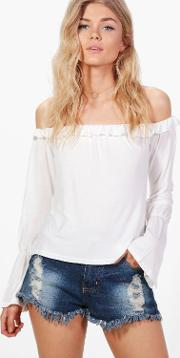 Boohoo , Ivy Ruffle Off The Shoulder Top - Ivory