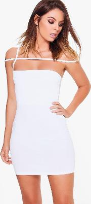 Boohoo , Strappy Off Shoulder Bodycon Dress - Ivory