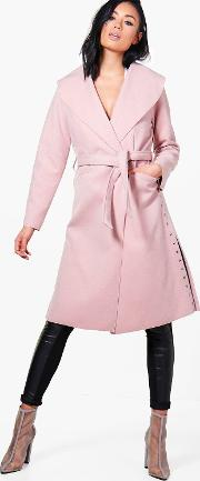 Boohoo , Studded Side Coat - Blush