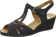 Chesca , Navy Suede And Jet Bead G Fit Wedge Sandal