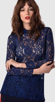 Closet , Navy Lace Fitted Blouse With Collar