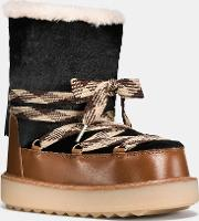 Coach , Shearling Bootie In Haircalf