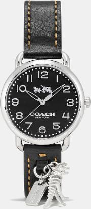 Coach , Delancey Leather Strap Watch With Rexy Charm