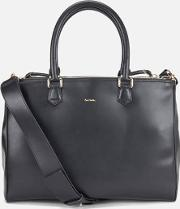 Paul Smith Accessories , Women's Leather Large Double Zip Tote Black
