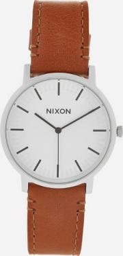 Nixon , Men's The Porter Leather Watch White Sunraysaddle