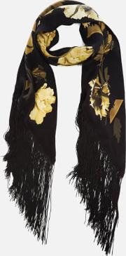 Rockins , Women's Flora Classic Skinny Fringed Scarf Gold