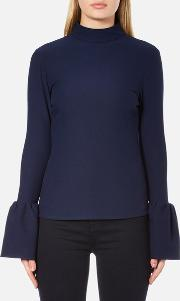 Perseverance , Women's Long Sleeve Crepe T Blouse With Frill Cuff Navy