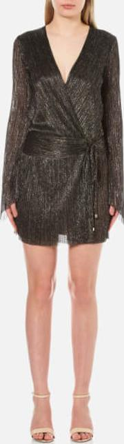 Bec & Bridge , Women's Glitter Rain Long Sleeve Dress Goldsilver Black