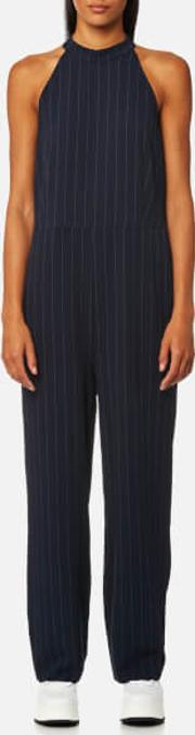 Ganni , Women's Clark Pinstripe Jumpsuit Total Eclipse Eu 40uk 12 Blue