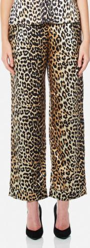 Ganni , Women's Dufort Silk Trousers Leopard Eu 34uk 6 Multi