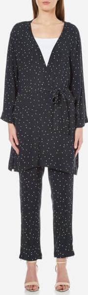 Ganni , Women's Rosemont Crepe Dotted Kimono Dotted Eclipse Uk 10eu 38 Blue