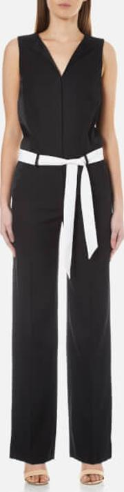Karl Lagerfeld , Women's Tailored Crepe Jumpsuit Black It 44uk 12 Black