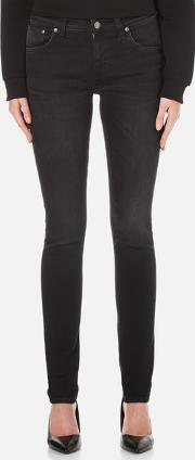 Nudie Jeans , Women's Skinny Lin Jeans Black Habit