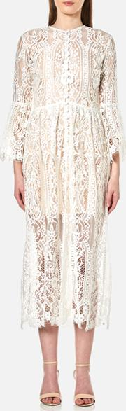 Perseverance , Women's Floral Tiered Lace Buttoned Cover Up Coat Off White