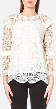 Perseverance , Women's Rose Embroidery Lace Tie Back Blouse Off White