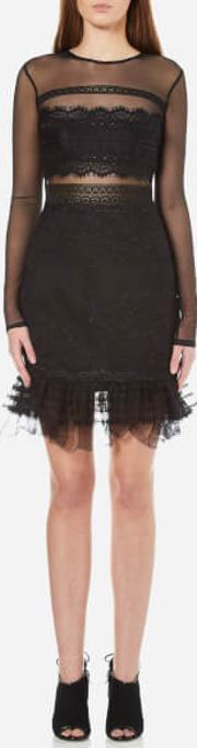 Three Floor , Women's Stargate Floral Lace Dress With Mesh Sleeves Black