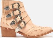 Toga Pulla , Women's Buckle Side Leather Heeled Ankle Boots Beige