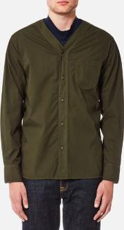 Universal Works , Men's V Neck Shirt Olive L Green