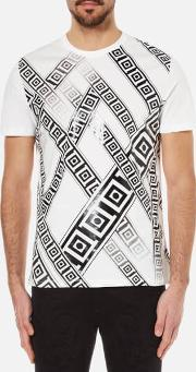 Versace Collection , Men's Greek Patterned Embossed T Shirt White