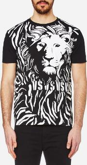 Versus Versace , Men's Lion Large Logo T Shirt Blackwhite