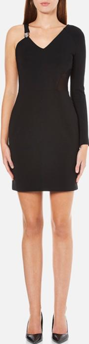 Versus Versace , Women's Half Sleeveless Half Long Sleeve Fitted Dress Black