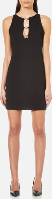 Versus Versace , Women's Jersey Cocktail Dress With Stud Close Front Black