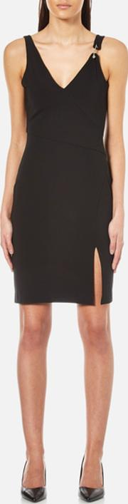 Versus Versace , Women's V Neck Dress With Side Slit Black