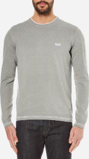 Boss Green , Men's Rime Crew Neck Knitted Jumper Pastel Grey
