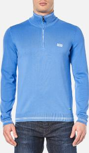 Boss Green , Men's Zime Half Zip Knitted Jumper Medium Blue