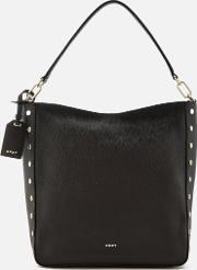 Dkny , Women's Chelsea Pebbled Leather Top Zip Hobo Bag Black