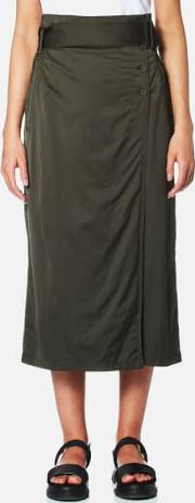 Dkny , Women's Wrap Skirt With Side Buttons And Self Belt Military