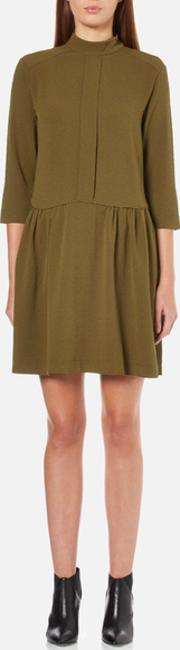 Ganni , Womens Clark Dress Dark Olive Suk 8