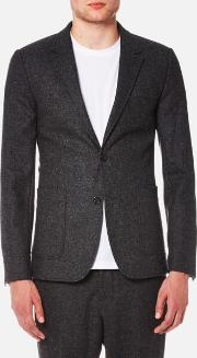 Ami , Men's Two Button Half Lined Suit Jacket Anthracite